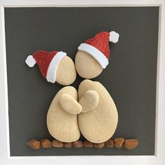Pebble art pebble picture: Christmas Couple in love