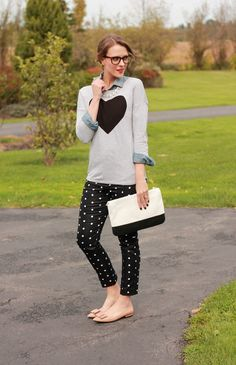 Polka dot, black jeans, gray graphic sweater, nude shoes, flats, denim shirt, preppy