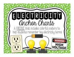 This freebie product is filled with cute and colorful anchor charts to help your students remember key electricity terms such as: - Static electricity- Current electricity- Conductor- Insulator- Series Circuit - Parallel Circuit Enjoy! :)