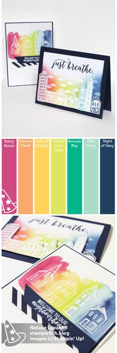 Homemade cards by Natalie Lapakko with a SNEAK PEEK of In The City host stamp set from Stampin\' Up! Color Inspiration: Berry Burst, Peekaboo Peach, Daffodil Delight, Lemon Lime Twist, Bermuda Bay, Pool Party, Night of Navy