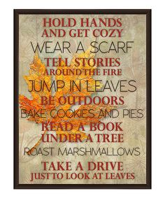 PTM Images Thanksgiving To Do List Framed Giclée Print   by zulily -- I especially like # 7 - Read a Book...