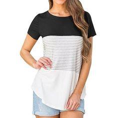 Women Short Sleeve Triple Color Block Stripe T-shirt Casual Blouse. Blouses  Pour FemmesChemisiers ... 616d8b4138d