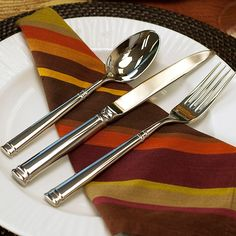 Fortessa Bistro 5-Piece Flatware Place Setting Silver - Fortessa's versatile Bistro Flatware is accented with simple banding for classic Parisian cafe style that works beautifully with contemporary table settings. This chic pattern is balanced and durably crafted in mirror-finish 18/10 stainless steel. - kitchen ideas