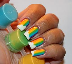 Good Morning Friends! I bring you a Rainbow extravaganza this Monday morning. I have had these nails written down in my idea book forever, ...