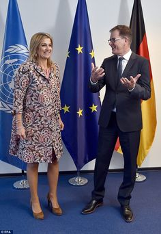 The Dutch royal met with German Federal Minister of Development Gerd Mueller as she arrive...