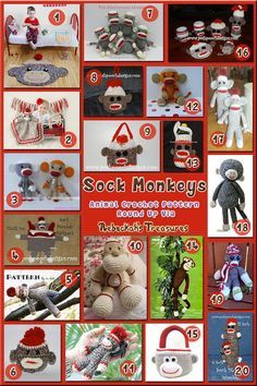 Sock Monkey Toys & Accessories - Animal Crochet Pattern Round Up via @beckastreasures
