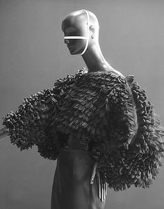 Artistic Fashion - oversized top with looped ribbon textures, sculptural fashion // Clarisse Hieraix Couture S/S 2013
