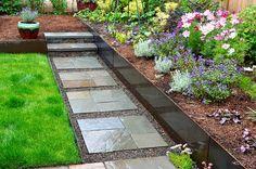 Bluestone Path, Stairs + Steel Retaining Wall - Pistils Landscaping