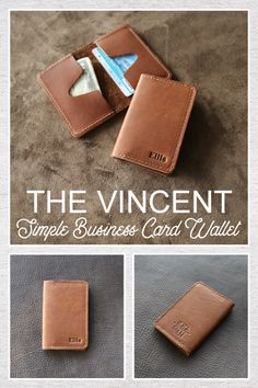 The Vincent Fine Leather Business Card Holder Wallet is handmade right here in our shop with the finest of Full Grain American leathers.  We hand–pick our leather hides from a local tannery for a rustic look and feel. This is a gift that will be used and loved for a lifetime! It's perfect for the executive, professional, father, or dear friend in your life.