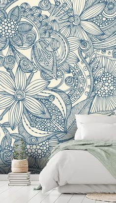 Stunning Flowers and doodles blue wall mural from Wallsauce. This high quality Flowers and doodles blue wallpaper is custom made. Diy Wallpaper, Colorful Wallpaper, Blue Wallpaper Bedroom, Blue Floral Wallpaper, Mural Art, Wall Murals, Blue And White Wallpaper, Doodle Wall, Bedroom Murals