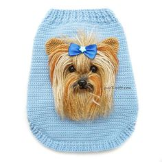 Crochet Yorkie Clothes, Yorkshire Dog Selfie Doll, Yorkie Gifts, Custom Dog Clothes Selfie Sweater, A Crochet Dog Clothes, Crochet Dog Sweater, Yorkshire Dog, Yorkshire Terriers, Yorkie Clothes, Pom Dog, Pull Crochet, Yorkie Dogs, Yorkies