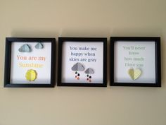 You are my sunshine SET OF 3, 3d paper art, perfect for your little ones nursery. $85.00, via Etsy.