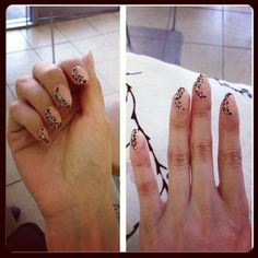 Nude stiletto nails with cmyk leopard print