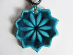 Ceramic Pendants – Necklace with ceramic pendant Star + Flower, blue – a unique product by Saskia-Lauth on DaWanda