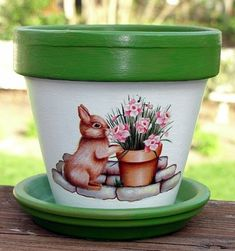 Bunny hand-painted flower pot