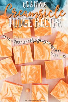 Creamy smooth and delicious, this easy homemade orange creamsicle fudge is the perfect sweet treat that is totally irresistible and only five ingredients! Orange Creamsicle Fudge Recipe, Creamsicle Cake, Yellow Food Coloring, Gel Food Coloring, Fudge Recipes, Candy Recipes, Dessert Recipes, Clean Recipes, Easy Desserts
