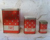 New Vintage Soviet Polka Dot Red Tin Boxes for Kitchen Decor Made in USSR in 1970s