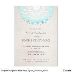 Elegant Turquoise Blue Beige Linen Look 5x7 Paper Invitation Card