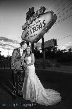 Las Vegas Strip Wedding Photo Tour, Las Vegas Sign, Exceed Photography