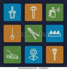 Gardening icon. Set of 9 Gardening outline icons such as shovel, garden tools, garden hammer, flower, sprout plants, street lamp, spray bottle