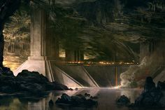 concept art of a structure built in a cave. A lot of detail within this painting, very dark, very dramatic.