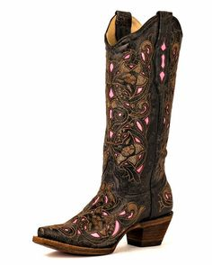 Corral Women's Distressed Black/Brown Floral Pink Inlay Boots - - looks like food. Bota Country, Country Boots, Western Wear, Western Boots, Crazy Shoes, Me Too Shoes, Over Boots, Cute Boots, Brown Floral