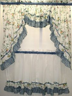 """Dreams Blue Floral with Gingham Check Kitchen Tier Curtain, 54""""x17"""" Valance by Cambridge. $12.99. Blue gingham ruffle. Picture shows: One pair of tiers, One scoop valance, and One pair of Swags. 70% Polyester/ 30% Cotton. This lovely floral patterned tier curtain will add to the design of any kitchen."""