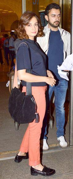 Dia Mirza and Sahil Sangha at the Mumbai airport.