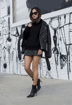 Aimee song from song of style wears a mcq studded skirt and leather jacket Rocker Outfit, Rocker Girl, Rocker Chic, Style Outfits, Club Outfits, Dance Outfits, Tomboy Outfits, Emo Outfits, School Outfits