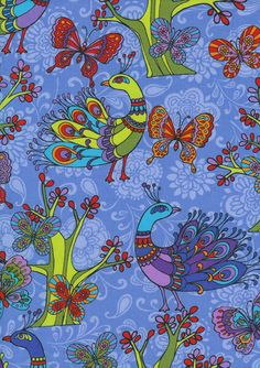 Novelty-Adult, peacock-c8129-blue, New England Quilt Supply
