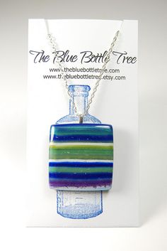 Blue striped pendant done in SCDiva's controlled marbling technique. by The Blue Bottle Tree, via Flickr