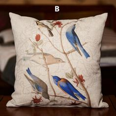 Bird flower pillow decorative home cushions for couch