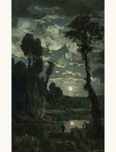 Marais moonlight - Émile Breton (1831–1902)