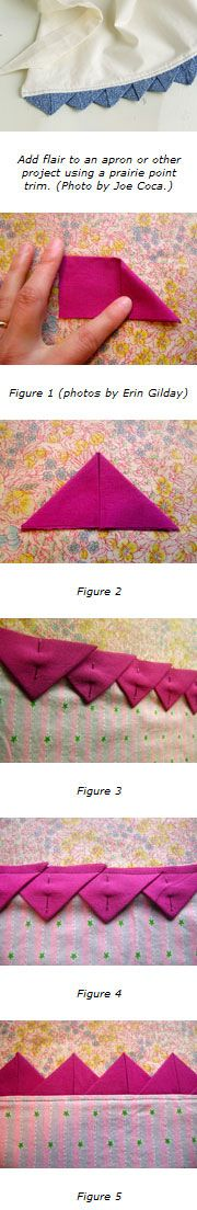 Costura - How to make a prairie point trim Quilting Tips, Quilting Tutorials, Sewing Tutorials, Fabric Crafts, Sewing Crafts, Sewing Projects, Techniques Couture, Sewing Techniques, Couture Main