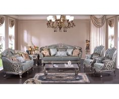 CMS- Victorian Era Design Silver Button Tufted Fabric Upholstery With Distressed Silver Decorative Wood Design Living Room Set