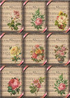Vintage Floral Music Sheet Hang Gift Tags