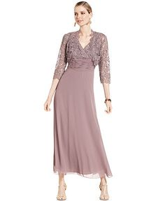 Patra Dress and Jacket, Sleeveless Lace Gown - Mother of the Bride Dresses - Women - Macy's
