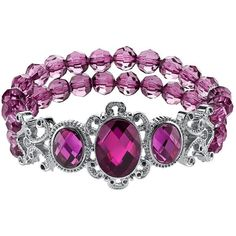 1928 Bead Filigree Stretch Bracelet (Purple) (37 AUD) ❤ liked on Polyvore featuring jewelry, bracelets, purple, purple bangles, filigree jewelry, beaded stretch bracelet, filigree bracelet and bead bracelet