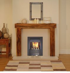 GAS SOLID WOOD ACACIA MANGO FIREPLACE BLACK GAS FIRE SURROUND SUITE CREAM MARBLE | eBay