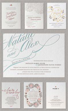 minted letter press invites
