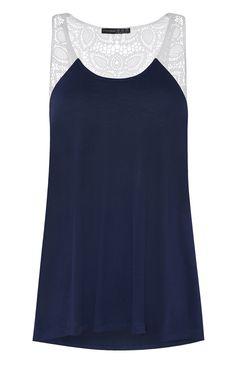 Primark - Blauwe top met gehaakte rugpartij