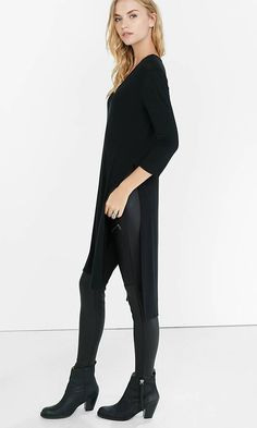 This knee-sweeping tee is a look the stylist inside you will adore! Try it with a body-hugging mini and heels for drinks out or with a bold color skinny leg jean to show pops of hue as you walk.