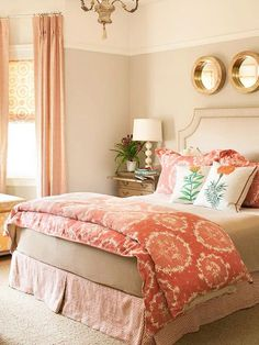 Moving Theme: A Thread Of Reddish Orange Unites The Patterns In This Bedroom,  But If You Look A Little Closer, Youu0027ll Also Discover A Subtle Circle Motif.