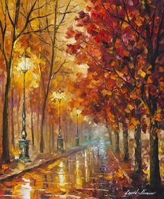 Red Tree Art Autumn Oil Painting on Canvas by Leonid Afremov - Kunst - Autumn Painting, Oil Painting Flowers, Oil Painting On Canvas, Painting Abstract, Painting Clouds, Canvas Art, Painting Trees, Painting People, Painting Wallpaper