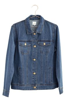 """Nothing like a classic denim jacket to put the finishing touches on an outfit! Dimensions: Small measures 18"""" in width, 25"""" in length Medium measures 18.5"""" in width, 16"""" in length. Large measures 20"""""""
