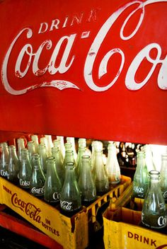Coca Cola crates and bottles, vintage