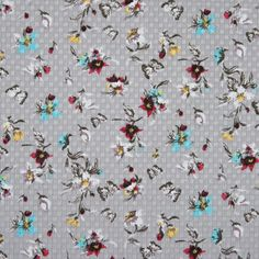 Gray Floral and Butterfly Printed Dobby Jacquard