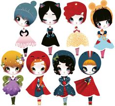 Dress Up Dolls (S) Fabric (not vinyl) Wall Decals & puzzle by Adolie Day