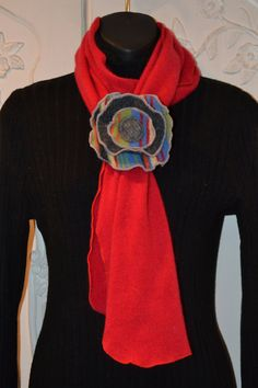 Red Cashmere Scarf Made From Recycled Sweaters by sewhappyone, $45.00
