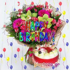 giortazo.gr: Happy Birthday Wishes Cake, Happy Birthday Photos, Happy Birthday Celebration, Happy Birthday My Love, Happy Birthday Flower, Happy Birthday Greetings, First Birthday Parties, First Birthdays, Birthday Cards